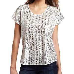 NEW The Tee by Joe's Top Riley Sequin White Small